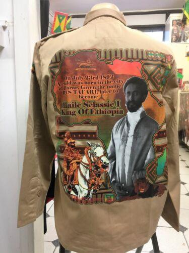 Umanamente Uomo I RE D/'ETIOPIA colore sabbia Esercito Stile Giacca Rasta Roots