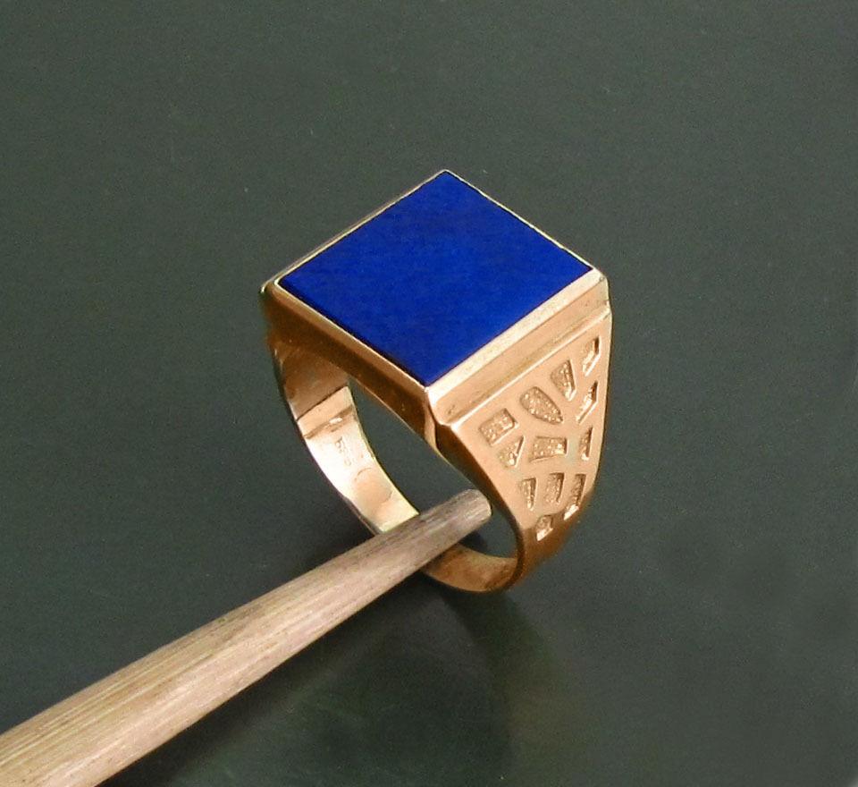 Markanter alter 585er gold HERREN-SIEGELRING m. LAPISLblueI • 9,55 g goldring