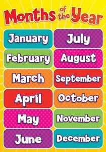 months of year children kids educational poster chart a4 size school