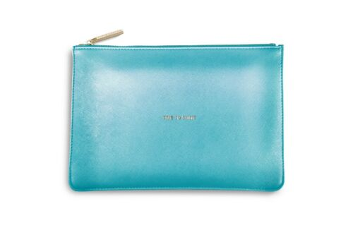 Katie Loxton Perfect Pouch Metallic Blue /'TIME TO SHINE /' with gift bag