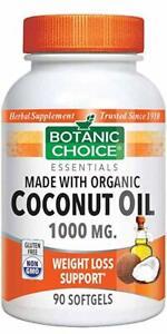 Botanic-Choice-Coconut-Oil-Organic-1000-Mg-90-Softgels-free-shipping