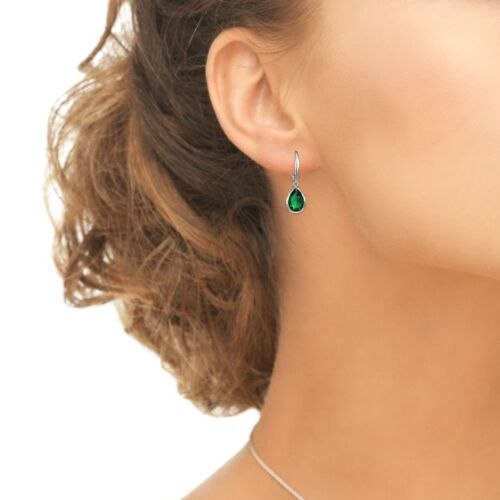 Dainty Teardrop Simulated Emerald Dangle Leverback Boucles d/'oreilles en argent sterling