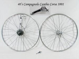 Vintage-1940-039-s-CAMPAGNOLO-CAMBIO-CORSA-1001-Complete-w-Wheels-GROUPSET-Top-cond