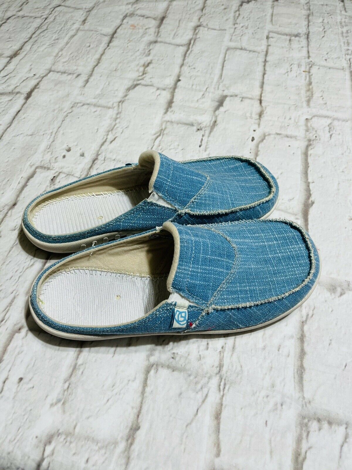 SPENCO Womens Sky Blue Canvas Slip on Comfort Mules Slide Shoes Size W10. See*