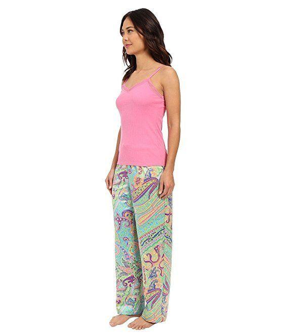 Ralph Lauren Women's Pajama Set Sateen Pants Camisole Top Paisley  XS, S