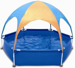 planschbecken kinder pool frame schwimmbecken sonnenschutzdach swimmingpool baby ebay. Black Bedroom Furniture Sets. Home Design Ideas