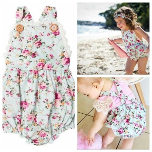 Baby Girl Toddler Blue Floral Button Romper Jumpsuit Outfit Clothing Playsuit