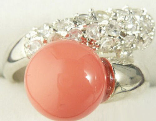 6.7.8.9 Coral Pink Color Shell Pearl White Gold Plated Crystal Ring Size