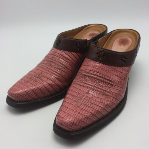 Ariat Pink Moc Croc Western Boot Slip On Shoes Wom