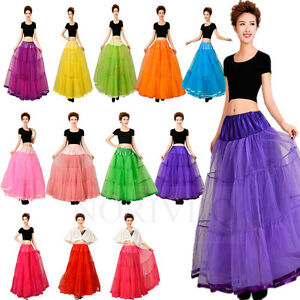 Vintage-Women-Long-Petticoat-Rockabilly-Layered-Skirt-Crinoline-Underskirt-Tutu
