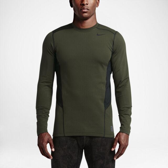 b7e738177 Nike sz S Men's PRO WARM FITTED Long Sleeve Shirt NEW 618984 325 Cargo Khaki