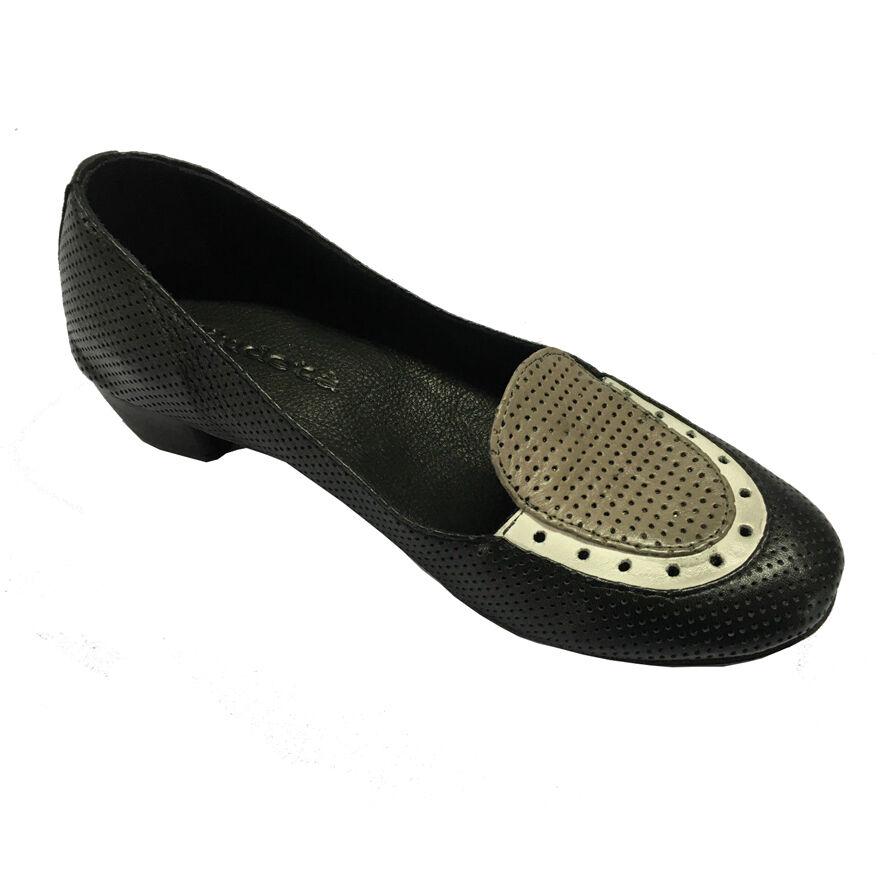 KUDETA' chaussure femmes noir  gris blanc 100% cuir MADE IN ITALY talon cm 3