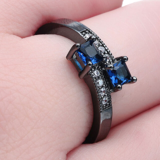 Women Fashion Jewelry 925 Silver Blue Sapphire Gemstone Bridal Wedding Ring New