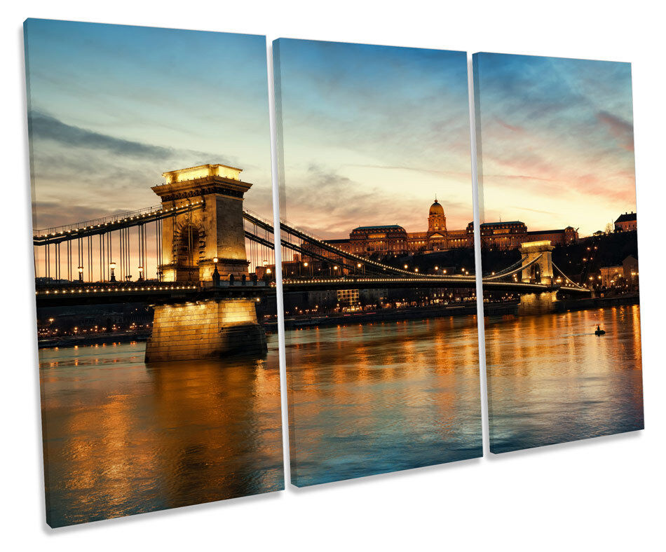 Chain Bridge Budapest Skyline TREBLE CANVAS WALL ART Box Framed Picture