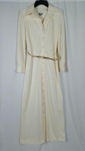 VTG Parade New York Ivory Maxi Dress Pleated Long