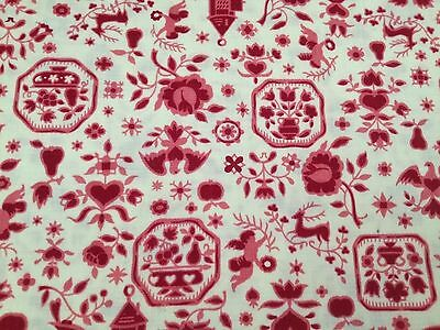 Vintage Fabric Bates Print 45 x 122 VIP Floral Flower Red White