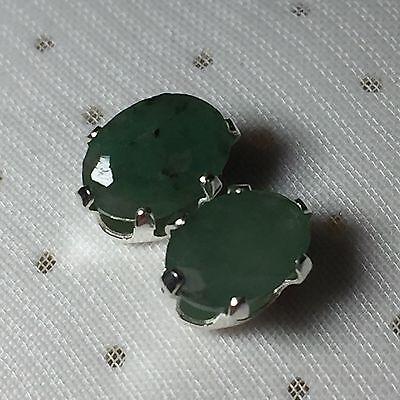 Oval 2.00CTTW Genuine Emerald Stud Earrings Mounted in Sterling Silver