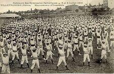 CARTE POSTALE / VILLEFRANCHE CONCOURS DE GYMNASTES CATHOLIQUES 1913