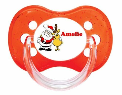PERSONALISED DUMMY PACIFIER SOOTHER ALL TEATS,SIZES /& COLOURS SANTA REINDEER