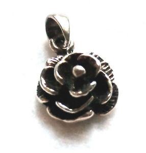 Rosen-Anhaenger-925-Sterling-Silber-Blume-Kettenanhaenger-Neu-Rose-pendant-silver