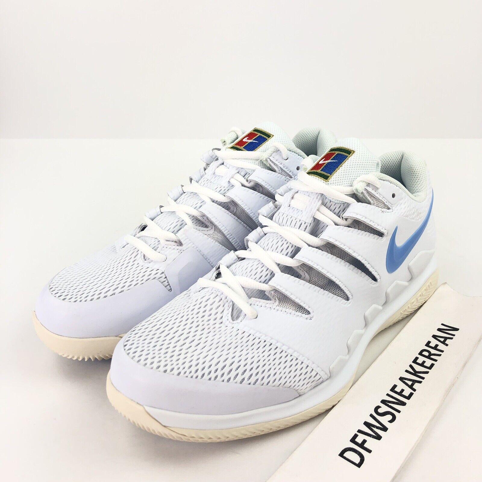 Nike Zoom Vapor X HC Men's 12.5 Wide Tennis shoes White bluee AH9066-100  Federer