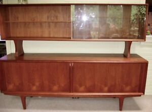 Danish Credenza Hutch : Mid century mod danish teak credenza and hutch combination by