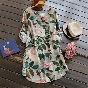 Women-Linen-Print-Mini-Dress-Maternity-Shift-Blouse-Loose-Tops-Pregnancy-Shirt