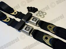 GM DELUXE STYLE LAP SEAT BELTS BLACK CLASSIC MUSCLECAR CHEVY BOP COMPLETE KIT