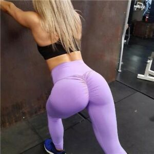 0ca16a65b8e89 Image is loading Women-Leggings-Booty-Scrunch-Round-High-Waist-Butt-