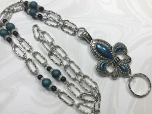 Blue-Fleur-de-Lis-Lanyard-Beaded-Silver-Chain-Badge-ID-Holder-Breakaway-Option