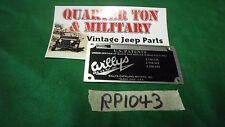 Jeep Willys CJ2A CJ3A CJ3B Firewall Patent plate US Made RP1043