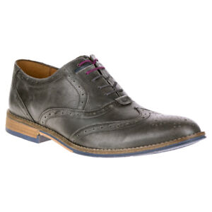 NEW-Mens-Hush-Puppies-Style-Brogue-Dress-Shoes-Grey-Smooth-Leather-Choose-Size