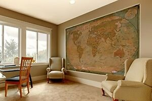 Giant world map wall paper poster antique large hanging vintage image is loading giant world map wall paper poster antique large gumiabroncs Gallery