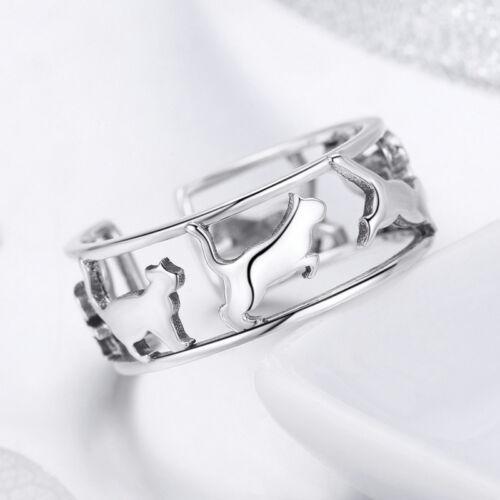 Genuine 925 Sterling Silver Happy Kitty  Open Finger Ring Fit Lovely Women Girls