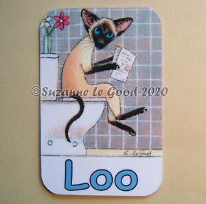Siamese-Cat-art-painting-Loo-toilet-door-laminated-sign-original-Suzanne-Le-Good