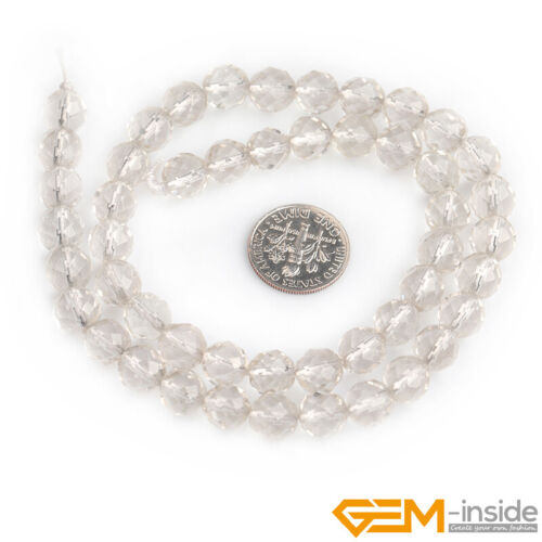 Natural White Rock Clear Crystal Quartz Faceted Round Beads For Jewelry Making