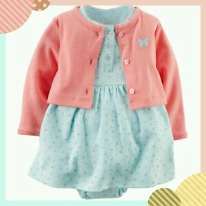 Girl Carters Newborn 6 9 12 Months Cardigan Floral Dress Set Baby Girl Outfit Ebay