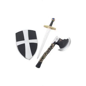 Chevalier-Medieval-Croise-Set-Epee-Hache-amp-Bouclier-Accessoire-Deguisement