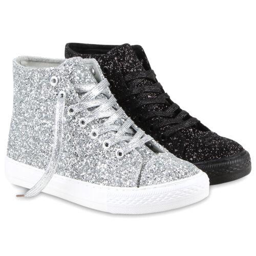 Damen Freizeit Sneakers High Glitzer Turnschuhe Canvas 811113 Schuhe
