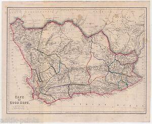 Details zu Kap der Guten Hoffnung-Cape of Good Hope-Afrika-Karte-Map 1860  Africa