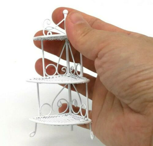 Miniature Dolls House Accessories White Wire Triangle Flower Stand 1:12th scale