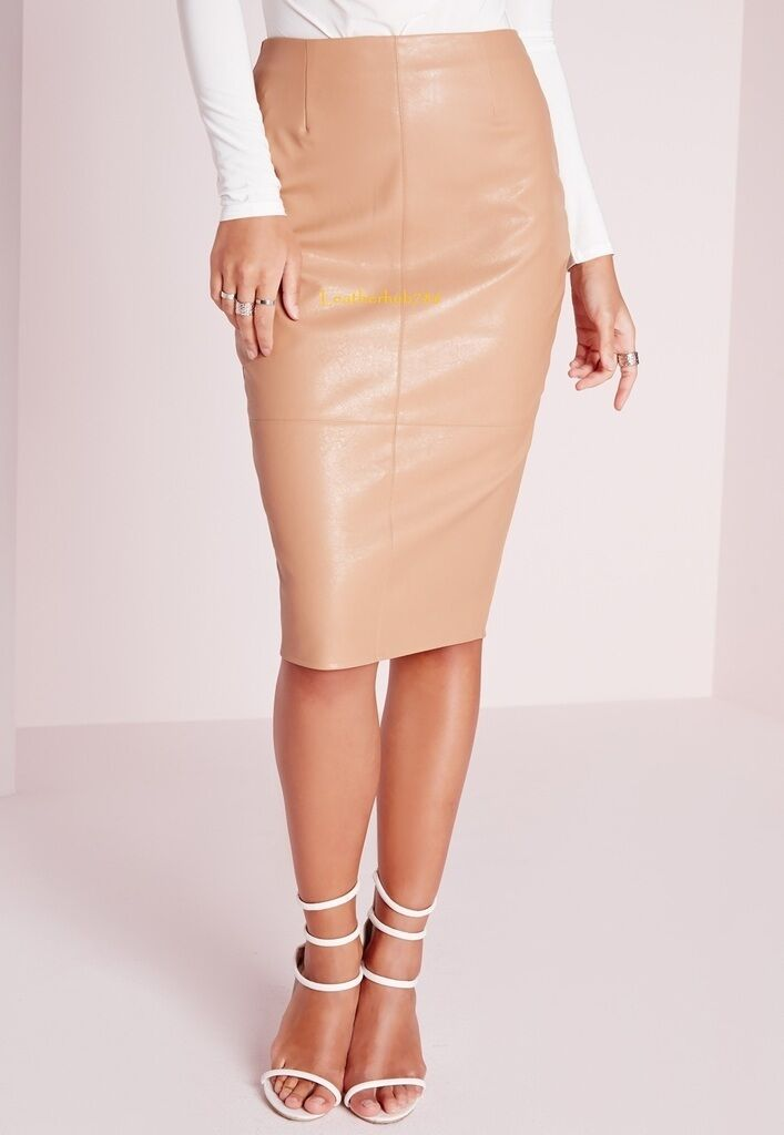 New 100% Genuine Lambskin Brown Leather Women Pencil Hollywood Style Skirt 49