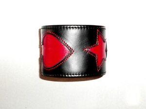 Lederarmband Börse Schwarz Rot Motiv Bracelet Leather Black Red Wallet Purse