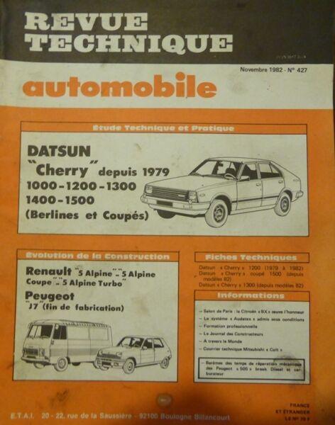 Eerlijk Revue Technique Datsun Cherry Rta 427 1982 + Renault 5 Alpine Turbo Coupe J7 R5 Zowel De Kwaliteit Van Vasthoudendheid Als Hardheid Hebben