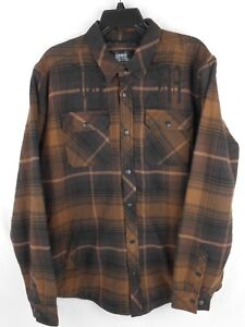 Men-039-s-Metal-Mulisha-Wartime-Long-Sleeve-Flannel-Jacket-M-Medium-NWT-NEW-Brown