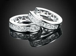 Silber-Creolen-Kreolen-Klapp-Ohrstecker-Ohrringe-Zirkonia-Diamant-Damen-Neu