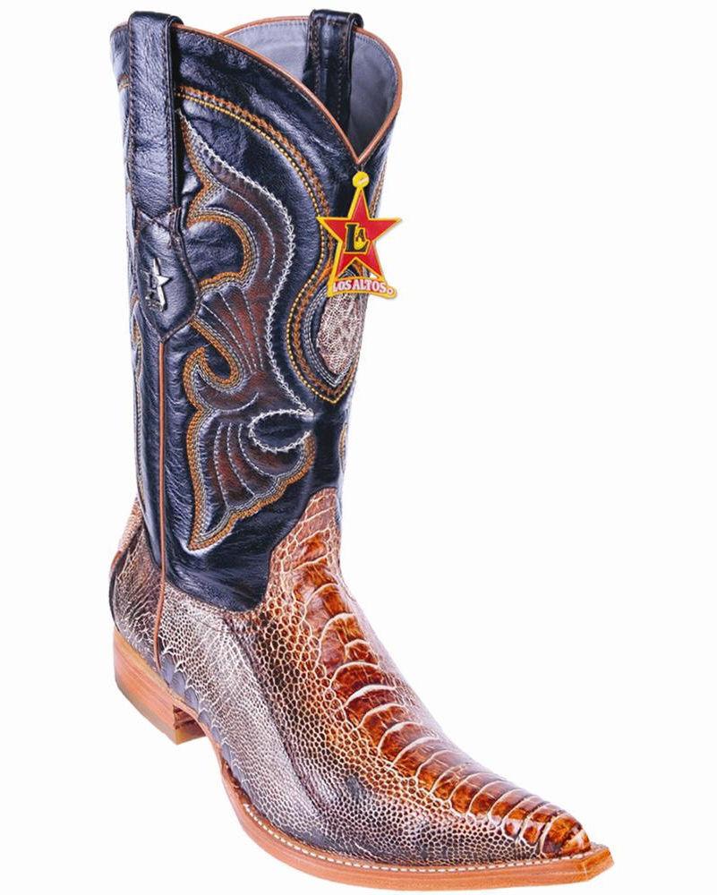 LOS ALTOS RUSTIC COGNAC GENUINE OSTRICH LEG 3X TOE WESTERN COWBOY BOOT D