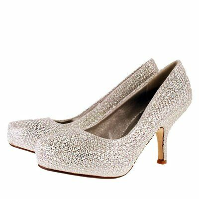 New TRUFFLE Silver Sparkle Kitten Heel Evening Party Prom Wedding Court Shoes