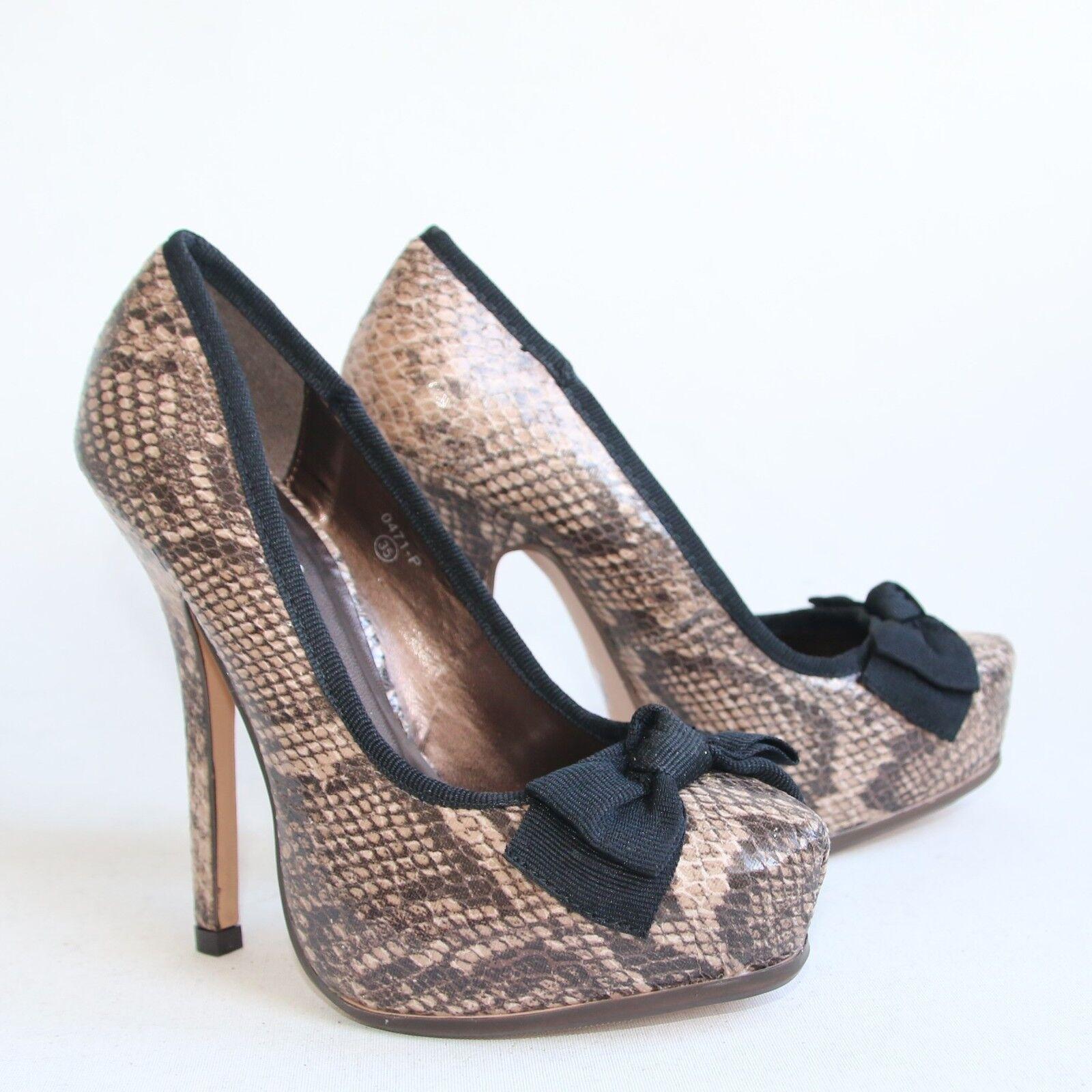 Damen Plateau High Heels Braun 35 Stilettos Lack Pumps Shoes 0471-P .