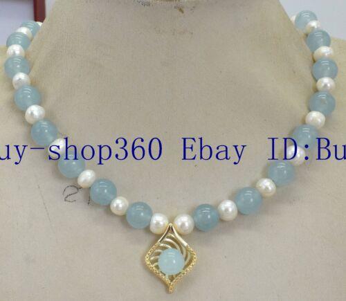 """Nouveau 7-8 mm blanc perle /& 8 mm Rond Bleu Aigue-marine Gemme Collier Pendentif 18/"""""""